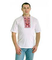 Біла футболка з червоно-чорною вишивкою хрестиком. «Ромби»