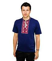 Синя футболка з червоно-білою вишивкою хрестиком. «Ромби»