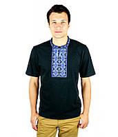 Чорна футболка з синьо-голубою вишивкою хрестиком. «Ромби»