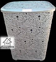 Корзина/Бак для белья Elif Plastik Ажур (серая) 65 л