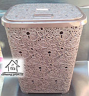 Корзина/Бак для белья Elif Plastik Ажур (коричневая) 65 л