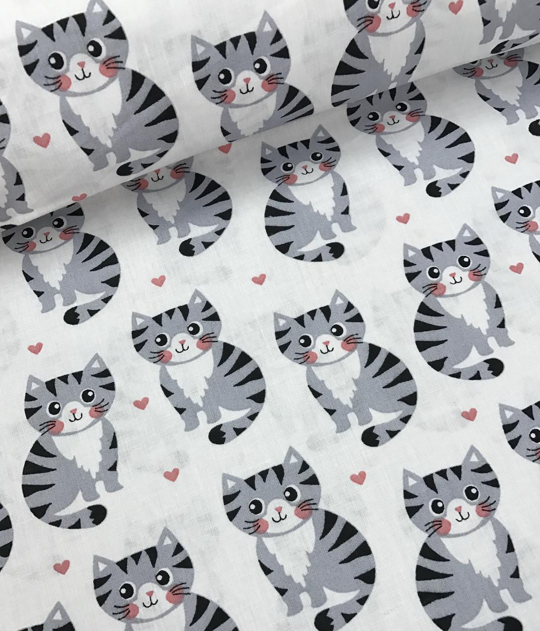 Хлопковая ткань польская котята серые на белом