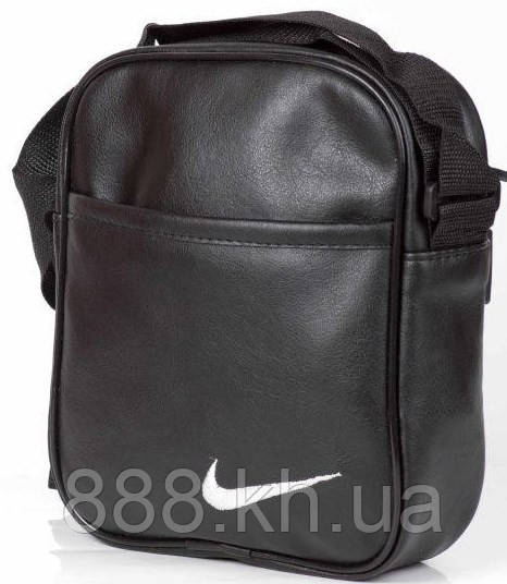9a2661b0c125 Мужская кожаная сумка через плече NIKE большая, логотип белый реплика