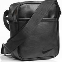 Мужская кожаная сумка через плече NIKE большая, логотип черный  реплика