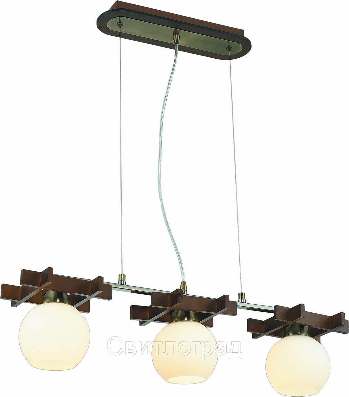 Светильник Подвесной Деревянный    Altalusse INL-3089P-13 Antique Brass & Walnut
