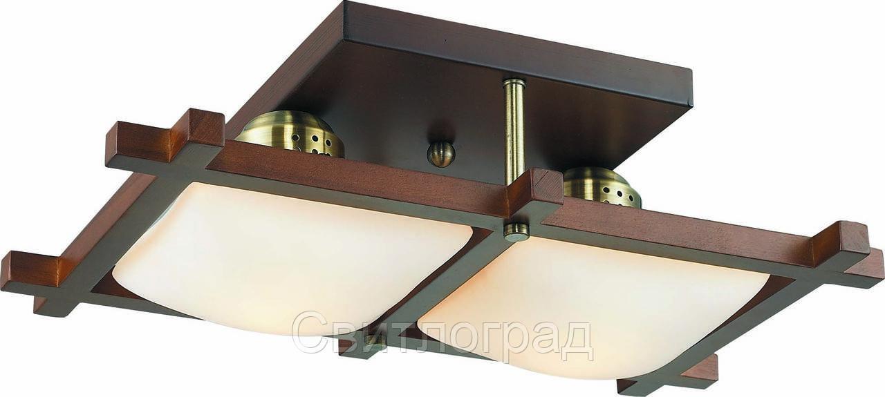 Светильник Потолочный Деревянный    Altalusse INL-3092C-02 Antique Brass & Walnut
