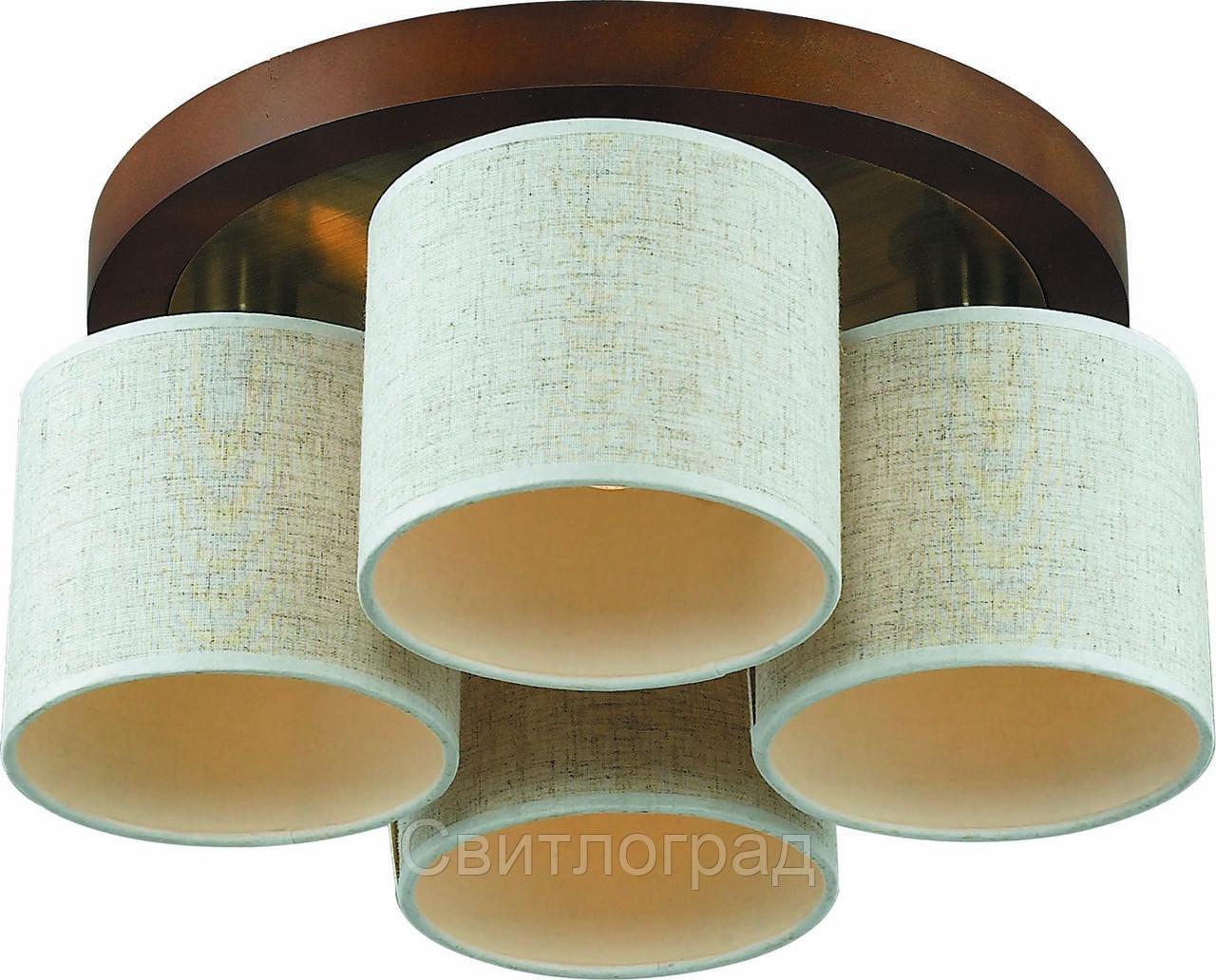 Светильник Потолочный Деревянный    Altalusse INL-3094C-04 Antique Brass & Walnut
