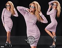 Практичное миди платье-футляр ангоровое с украшением ручной вышивки