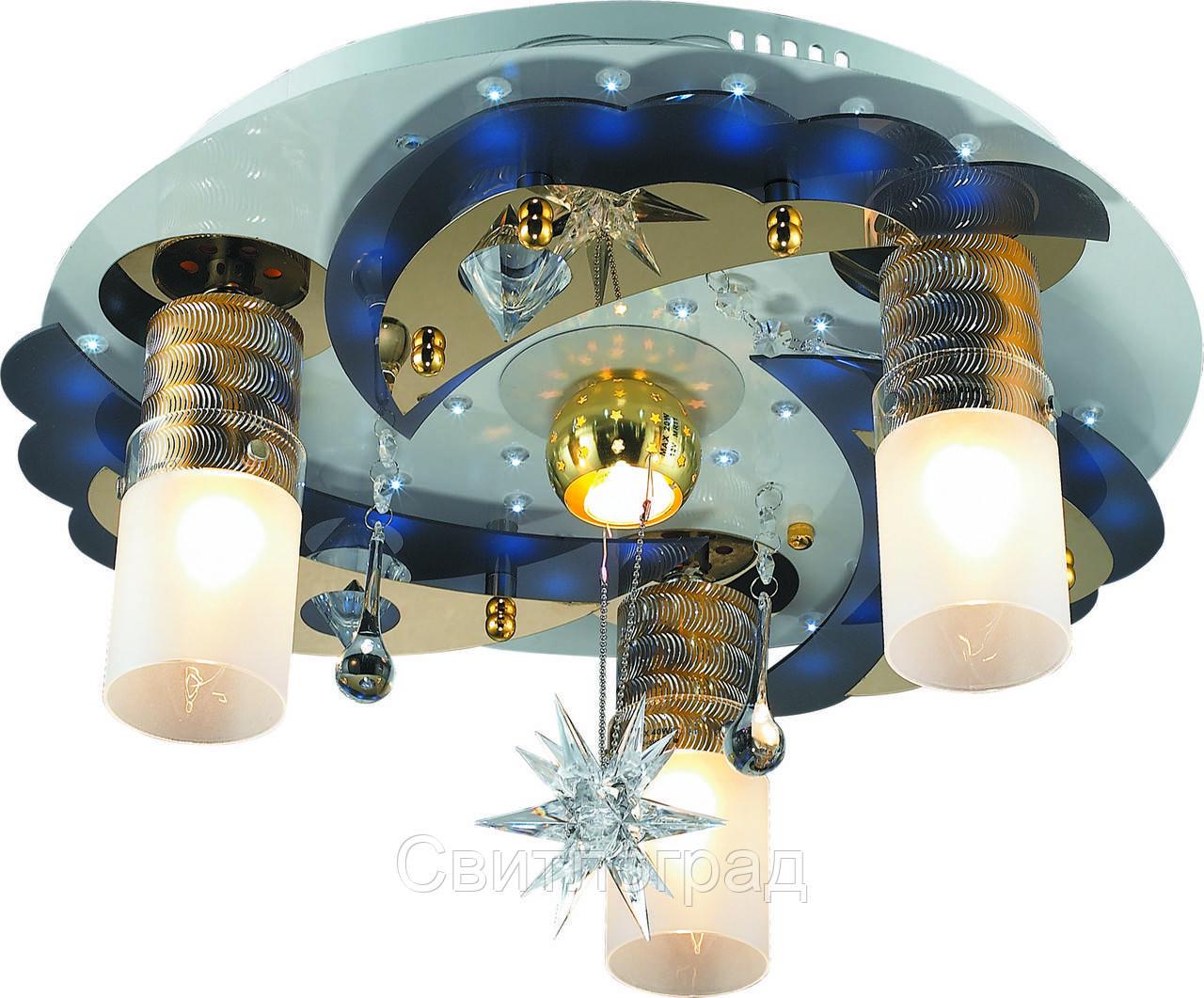 Светильник Потолочный с Led Подсветкой  с Плафонами  Altalusse LV168-04  White & Gold