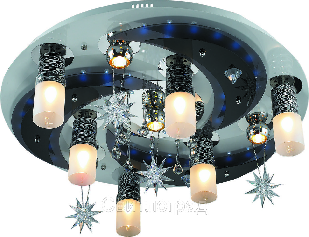 Светильник Потолочный с Led Подсветкой  с Плафонами  Altalusse LV171-10 White & Chrome