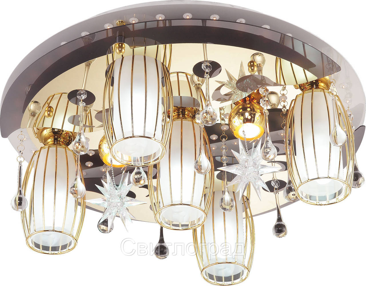 Светильник Потолочный с Led Подсветкой  с Плафонами  Altalusse LV218-07 White & Gold
