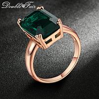 Позолоченное кольцо с зеленым кристаллом р 16.5,17,18,19 код 1079