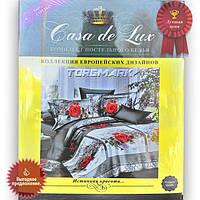 """Полуторный комплект постельного белья """"Casa de Lux 100% хлопок"""" - Роза классик - 150*220 - Украина"""