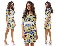 """Элегантное женское платье средней длины 3039 """"Коттон Цветы Миди"""" в расцветках"""