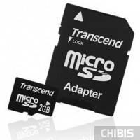 Карта памяти Transcend MicroSD 2Gb +SD адаптер