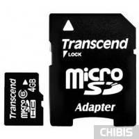 Карта памяти Transcend MicroSDHC 4Gb (Class 6) + SD адаптер