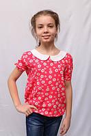 Стильная детская красная блуза с цветочным принтом на короткий рукав