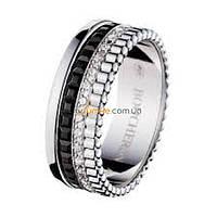 Узкое кольцо Boucheron Quatre Black Edition с камнями