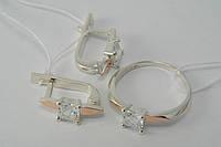 Серебряные кольцо и серьги с квадратными камнями