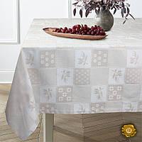 Еней-Плюс Скатерть на круглый стол М5 топленое молоко (142)