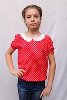 Красная детская блуза в горошек, свободного кроя, с коротким рукавом