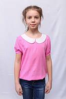 Модная детская розовая блуза с белым воротником