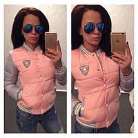 Женская короткая куртка бомбер, розовая / Женская демисезонная куртка на синтепоне, розового цвета