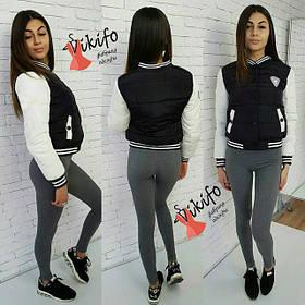 Женская короткая куртка бомбер, черная / Женская демисезонная куртка на синтепоне, черного цвета