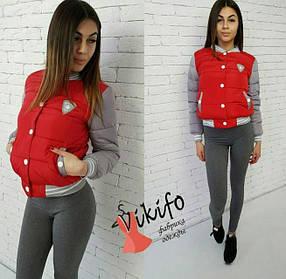 Женская короткая куртка бомбер, красная / Женская демисезонная куртка на синтепоне, красного цвета