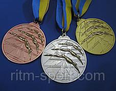 Медаль спортивна з плавання d - 6,5 см, фото 3