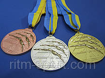 Медаль спортивна з плавання d - 6,5 см, фото 2