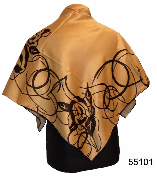 Шелковый кофейный атласный платок 1