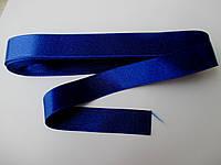 Стрічка атласна  двостороння 2 см ( 10 метрів) синя волошкова темна