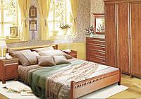 Спальня оригинальная шкаф, прикроватные тумбы, комод, зеркало, кровать без матраса Престиж