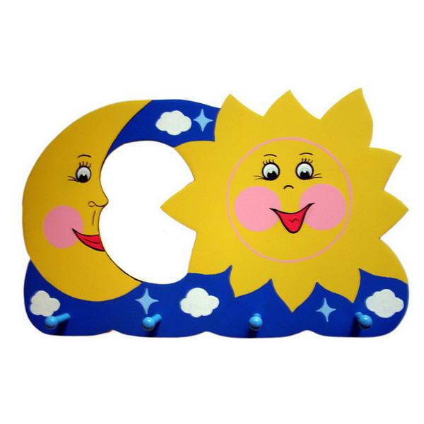 Детская вешалка «Солнце-Месяц», Funny Animals