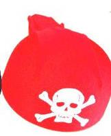 Пиратская шапка детская красная с черепом
