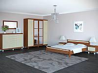 Спальня изящная шкаф 4Д, прикроватные тумбы, комод, зеркало, кровать без матраса ТОП