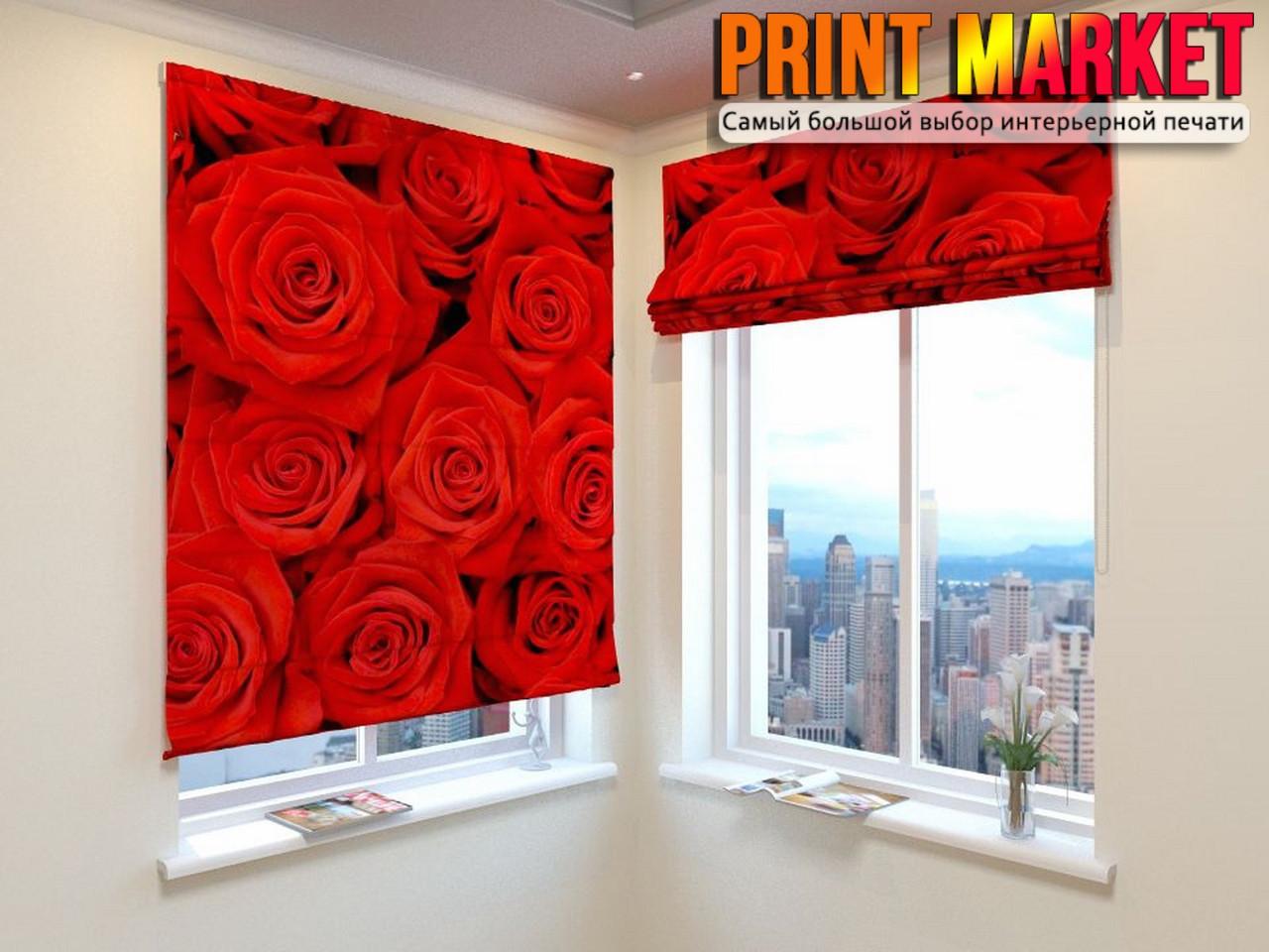 Римские шторы букет из красных роз