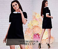 Модное черное короткое платье с белым воротником и манжетами. Арт-2222/70