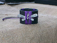 Женский кожаный браслет СТРЕКОЗА на руку, ручная работа