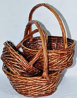 Плетеные корзины овальные, набор 3шт 45х38х40см