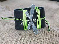 Красивый кожаный браслет СТРЕКОЗА на руку, ручная работа