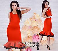 Стильное красное  нарядное женское платье. Арт-2224/70