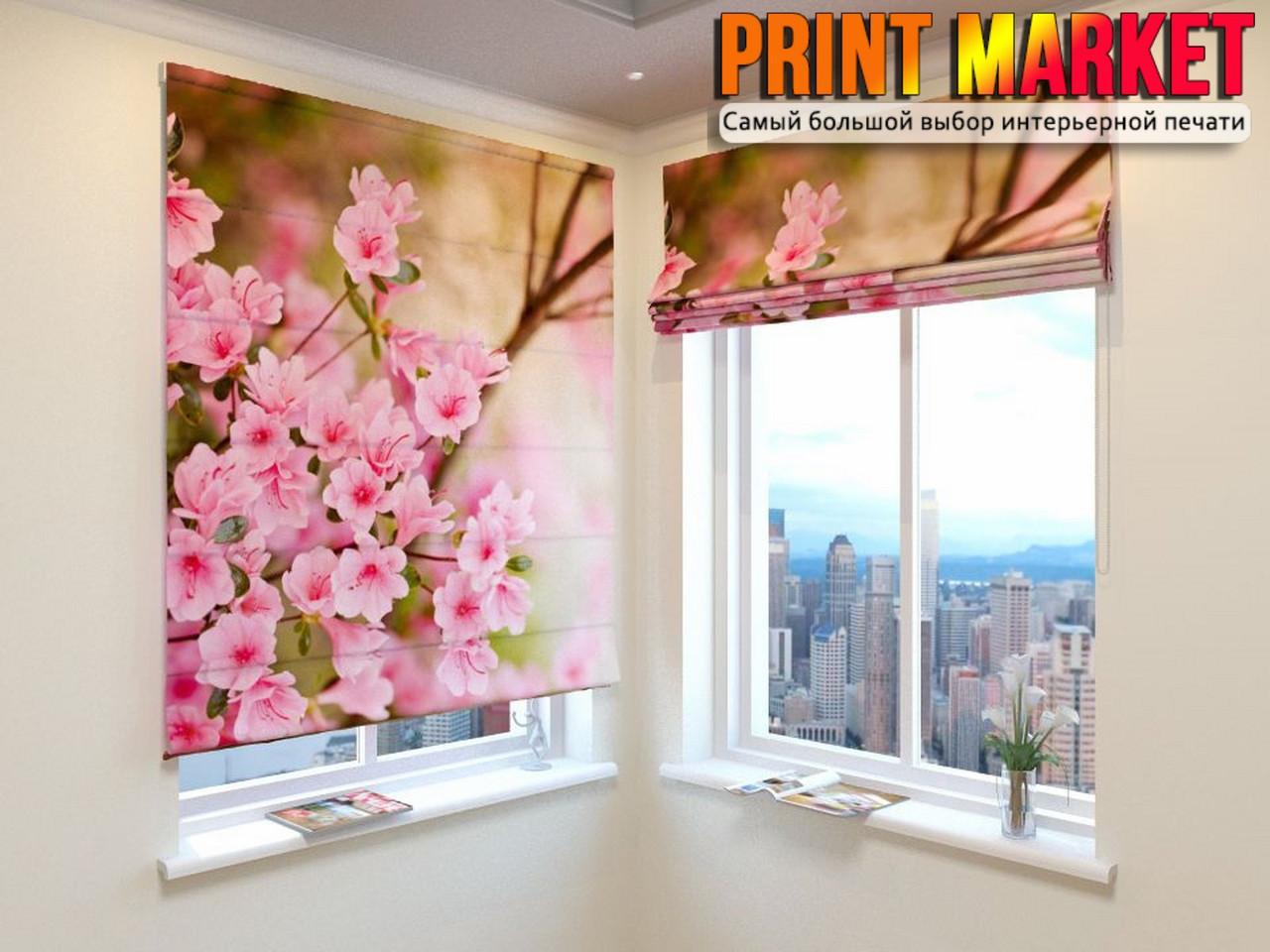 Римские шторы розовые цветочки