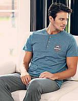 Мужская пижама, костюм для дома и отдыха футболка и брюки Sahinler 23515