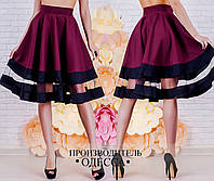 Стильная бордовая  женская юбка с сеткой. Арт-2228/70