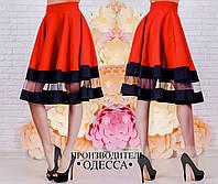 Стильная красная  женская юбка с сеткой. Арт-2228/70