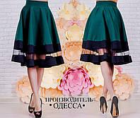 Стильная  женская юбка с сеткой, цвет бутылка. Арт-2228/70