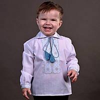 """Вишиванка для хлопчика з сіро-голубою вишивкою на ріст 86-110см, """"Богатир"""", фото 1"""