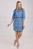 Стильное джинсовое женское платье-рубашка с открытыми плечями